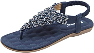 Women Bohemian Sandals Women Flat Shoes Bead Bohemia Lady Slipper Sandals Peep-Toe Outdoor Shoes