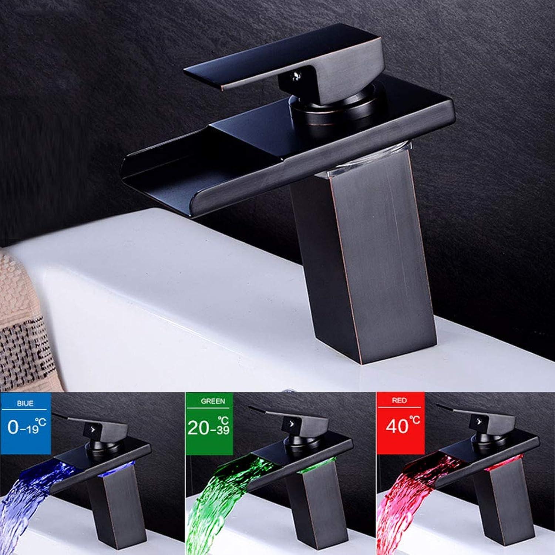 YXZN Wasserhhne Badezimmer mit Temperaturregelung LED Vollkupfer Waschbecken Wasserhahn Hei Kalt Wasserfall Wasserhahn