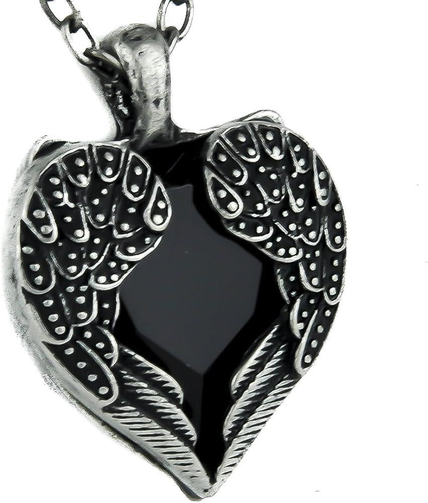 Dark Angel Wings Black Stone Heart Necklace Gothic Pendant