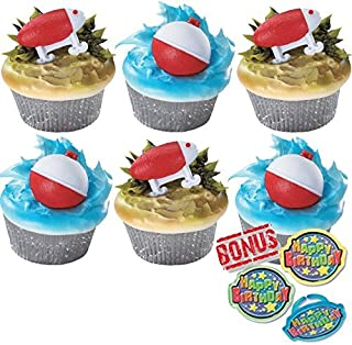 Fishing Lure and Bobber Cupcake Toppers and Bonus Birthday Ring - 25 piece