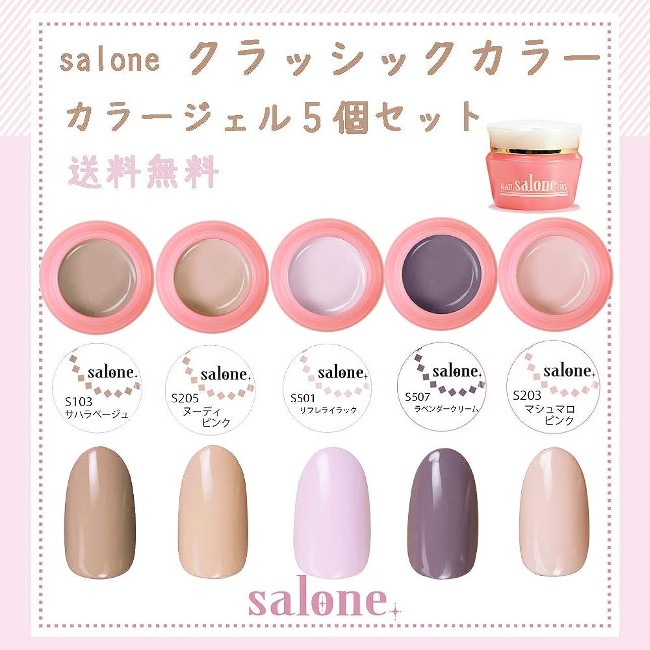 重荷実質的にほとんどの場合【送料無料 日本製】Salone クラッシックネイルカラージェル5個セット スモーキーで大人可愛いクラッシックカラー