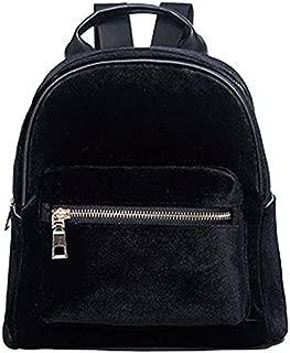 Donalworld Girl Velvet Backpack Cute Casual Zipper Solid Bags S Black