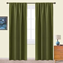 NICETOWN Window Curtains Blackout Drapes - Thermal Insulated Solid Rod Pocket Blackout Curtains/Draperies for Living Room (1 Pair,42 by 90 inches,Olive Green)