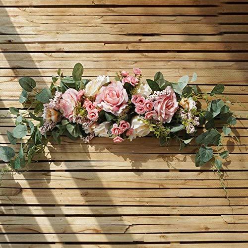 Arteificial Plantas falsas, guirnalda de flores artificiales para puerta, guirnalda de umbral, decoraciones de boda, centros de mesa florales para el hogar, cocina, jardín, fiesta, decoración de brico