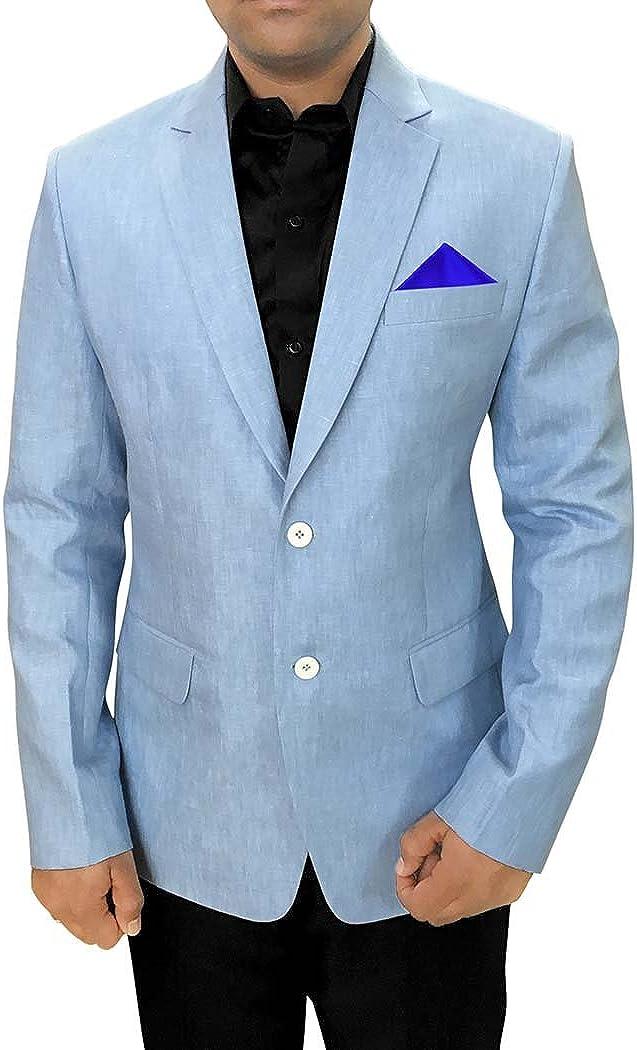 INMONARCH Mens Sky Blue Linen Blazer Sport Coat Jacket SB88