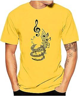 Ackful Fashion Men Casual Funny Musical Note Print O-Neck Short Sleeve T Shirt Tops