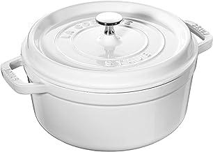 STAUB 1102402 Cast Iron Round Cocotte, 4-Quart, White