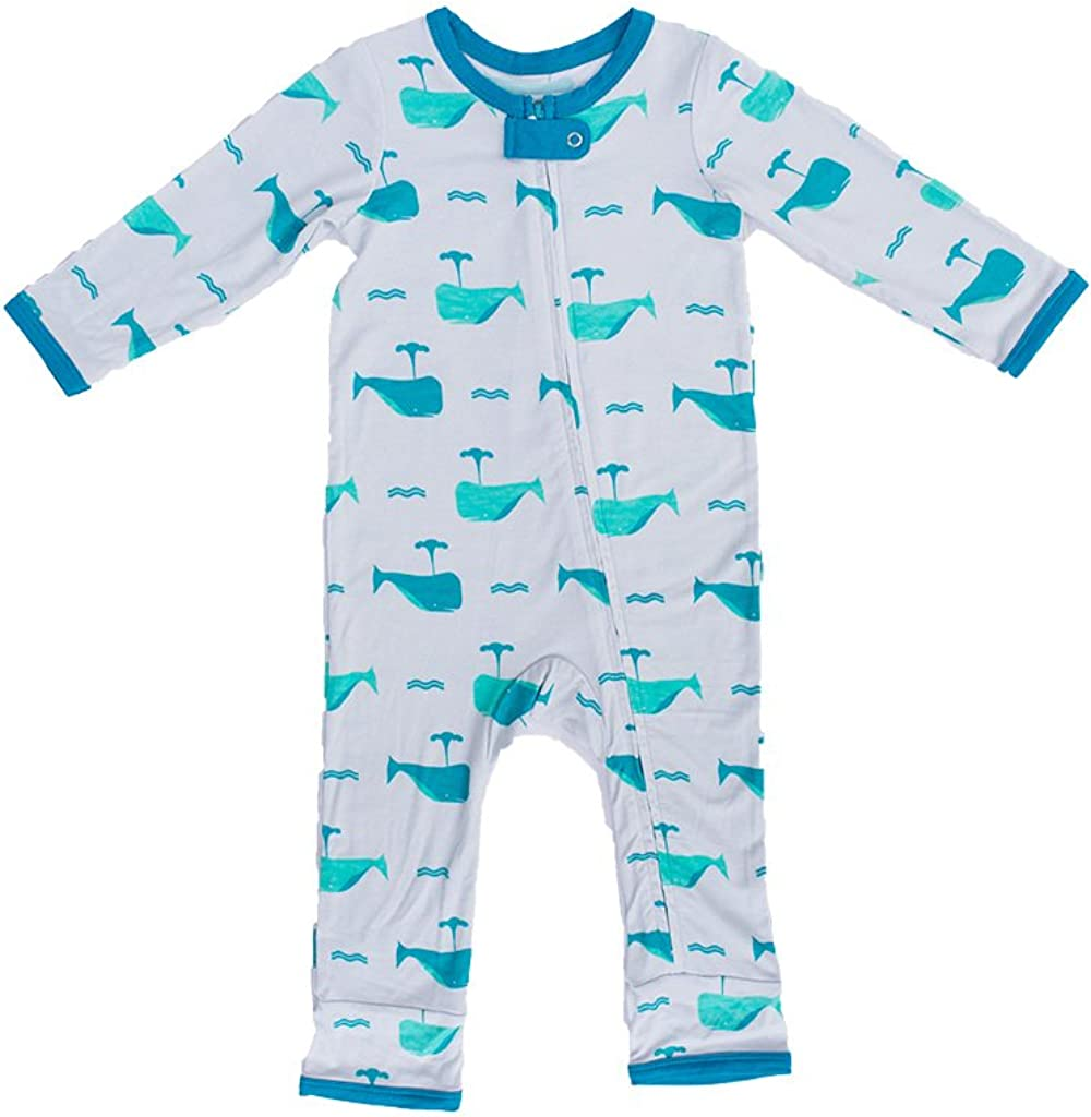 Kozi Co. Boys 1 year warranty Baby Don't miss the campaign and Toddler Romper 18-2 Coverall Aqua Whale