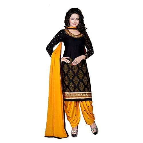 c940c1cf51 TASHVI CREATION Women's Crepe UnStitched Self Design Salwar Suit Dupatta  Material (TC_0609, Black,