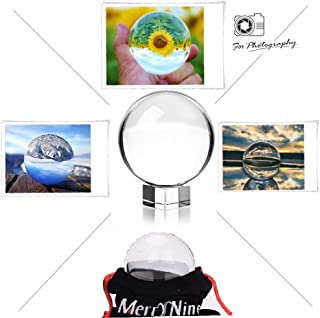 MerryNine Professional Crystal Ball Photograph, K9 Crystal Suncatchers Ball with Gift Box, Decorative and Photography Accessory (60mm Ball + 3cm Stand)