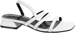 Women Slide On Sandals Low Block Heels Elastic Strap Open Toe Shoes
