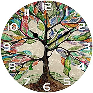 ALAZA Vintage Tree of Life Round Acrylic Wall Clock, Silent Non Ticking Oil Painting Home Office School Decorative Clock Art