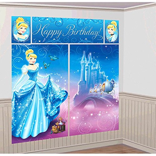 Amscan Disney's Cinderella Scene Setters, Blue, 59