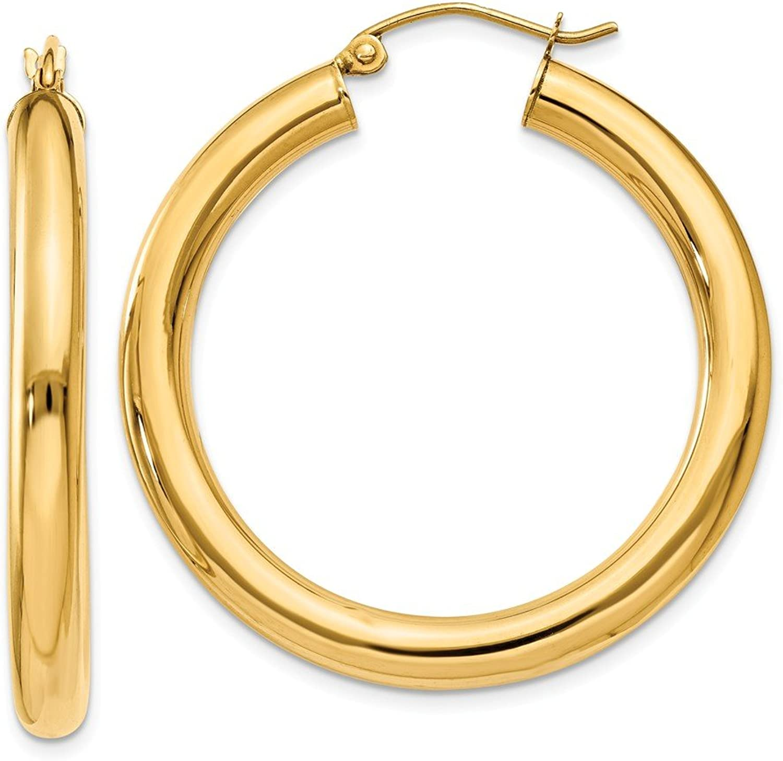 Beautiful Yellow gold 10K Yellowgold 10K Polished 4mm Tube Hoop Earrings