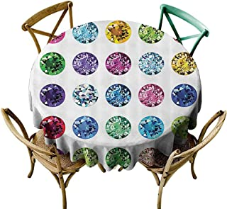 Printsonne Round Table Cloth Decorative Table Top Cover (51