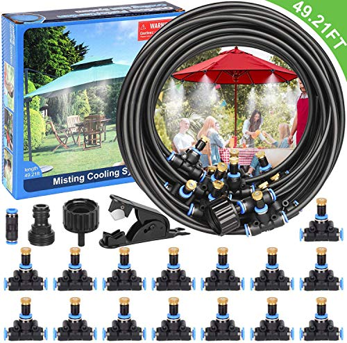 Elover Misting Cooling System 49.21FT Misting Line + 15 Brass Mist Nozzles + a Brass Adapter(3/4') Outdoor Mister for Patio Garden Greenhouse Trampoline for waterpark