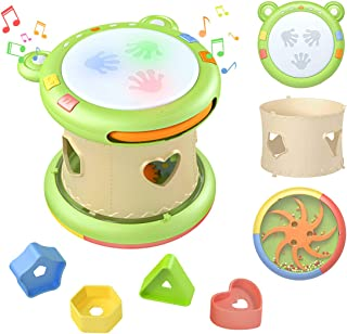 TUMAMA 3-in-1 Baby Musical Activity Cube Toys for 6 9 12 18 Months, Toddler Toys with 12 Music and 8 Songs,Educational Toys with Hand Drum,Shape Sorter and Bead Maze for 1,2 Years Old Boys and Girls