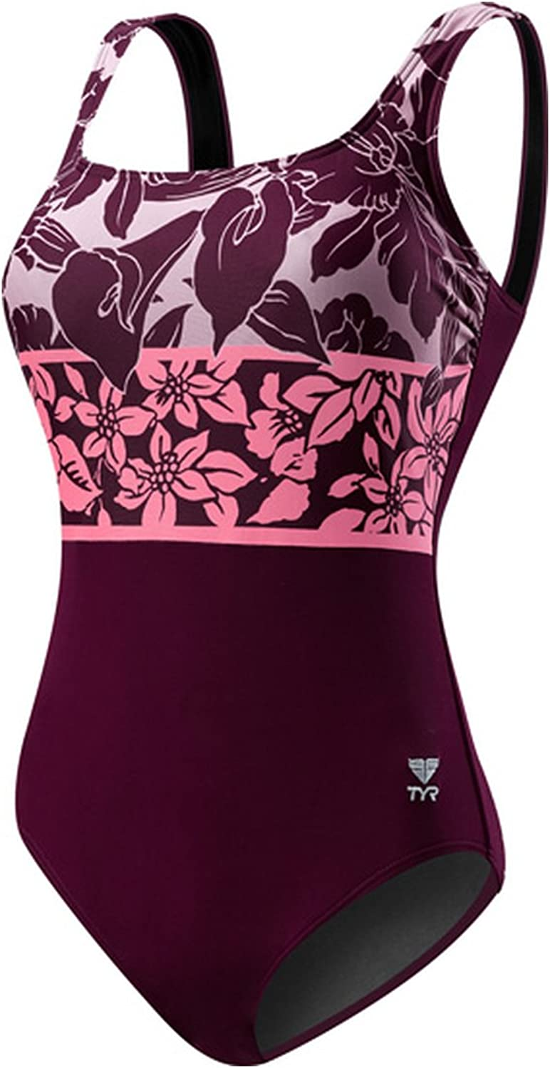 TYR Womens Floral Print Supportive Strap OnePiece Swimsuit