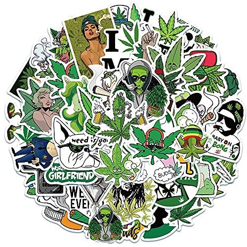 100PCS 50/100 unids / 108pcs Marihuana Stickers Stickers Portátil Guitarra Equipaje Impermeable A Estética Weed Graffiti Decal Packers Packs Kid Toy estéticas (Color : Marijuana 50PCS)