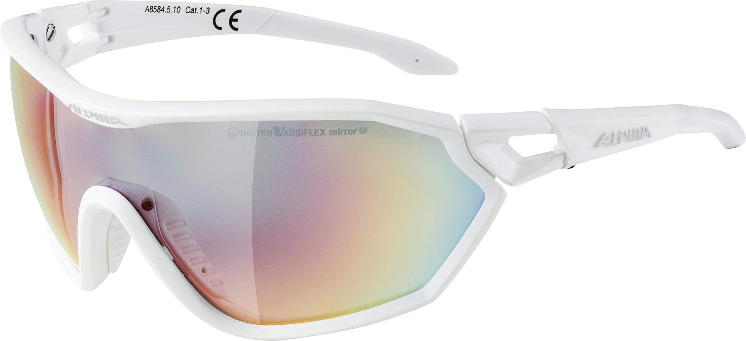 ALPINA Unisex - Erwachsene, S-WAY QV Sportbrille, white matt, One size