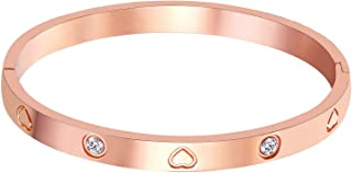 """Christmas Gift MVCOLEDY Jewelry Rose Gold Plated Bangle Bracelet Stone Stainless Steel Heart Crystal Bangle Bracelets for Women Jewelry Size 6.7"""""""