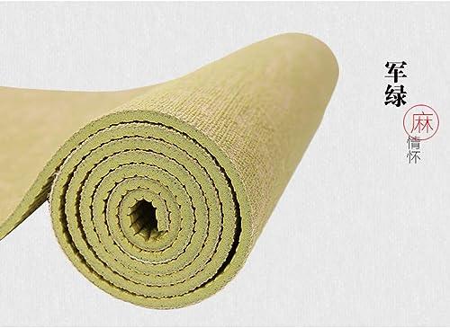 Baibian Tapis de Yoga en Jute Naturel 183  61 cm  5 mm Eco Kit de Tapis de Yoga en Lin Hybride pour Le Yoga Pilates et Exercice de Remise en Forme,Vert