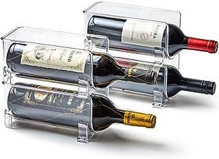 EZOWare Porte Bouteille de Vin Empilable en Plastique Pet, Rangement Bouteille pour Cuisine, Frigo, Plan de Travail, Cave ...