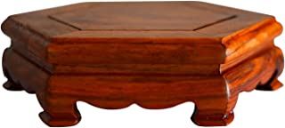 RYH Oriental vase Stand- Furniture Rosewood Pedestal Display Stand - Hexagon Shape, Hand Carved, Beautiful Individual Style Stand for Vase Jar(Size:4 inches)