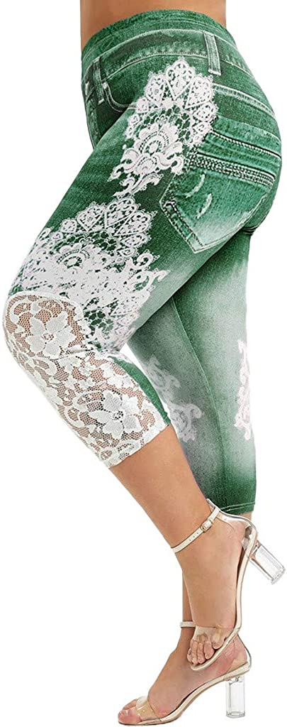 Fankle Shorts for Women Plus Size Capri Stretchy Yoga Shorts High Waist Jean Print Legging with Lace Trim