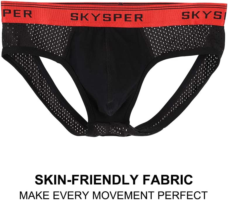SKYSPER Mens Jock Strap Athletic Supporter Sports Jockstraps Underwear with Leg Strap