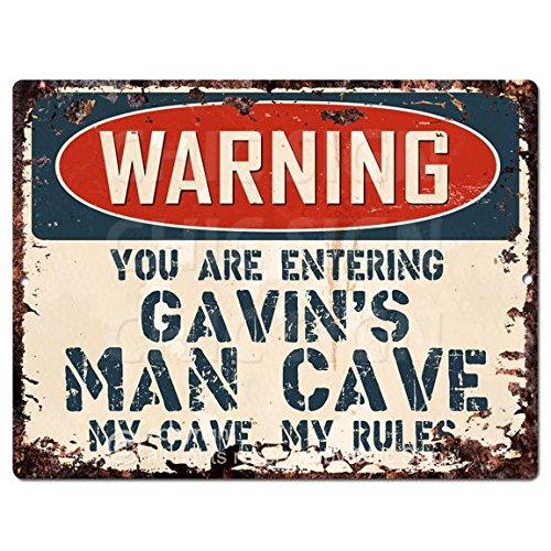 WARNING YOU ARE ENTERING GAVIN'S MAN CAVE Chic Sign Vintage Retro Rustic 9'x 12' Metal Plate Store Home Room Wall Decor Gift