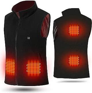 Heated Vest USB Electric Heated Vest Polar Fleece Lightweight Heated Waistcoat Size Adjustable Heating Vest (Battery not Included) Black