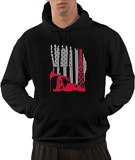 Oilfield Us Flag Men`s Pullover Hoodie Hooded Sweater Fleece Hoodie with Pockets