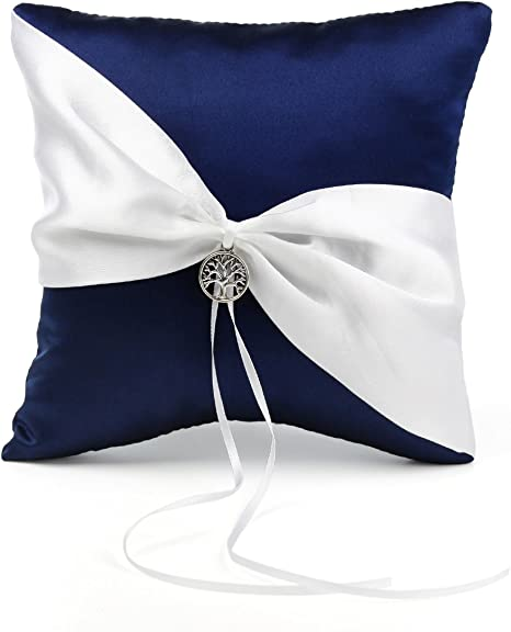 Wedding Pillow Navy Blue and Gray Ring Bearer Pillow Wedding Ring Bearer Pillow Gray And Navy Blue Wedding Ring Pillow