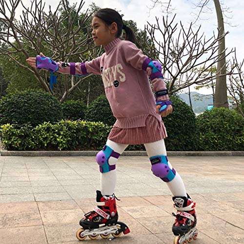 BOSONER Kids/Youth Knee Pad Elbow Pads for Rollerblade Roller Skates Cycling BMX Bike Skateboard Inline Rollerblading, Skating Skatings Scooter Riding Sports (Blue/Purple, Medium(6-15 Years))