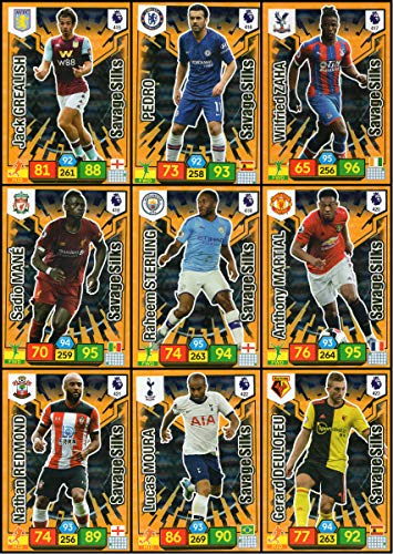ADRENALYN XL Premier League 2019/20 Full Set of (9) Savage Silks Trading Cards