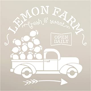Lemon Farm Stencil with Vintage Truck & Arrow by StudioR12 | DIY Spring & Summer Rustic Kitchen Home Decor | Craft & Paint Farmhouse Wood Signs | Reusable Mylar Template | Select Size (12 x 12 inch)