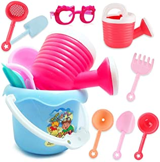 Sand Castle Building Kit, Hamkaw Kids Beach Toy Set with Sand Castle Bucket/Shovels/Glasses/Bucket and More, Fun Beach Toys for Boys Girls Skill Development