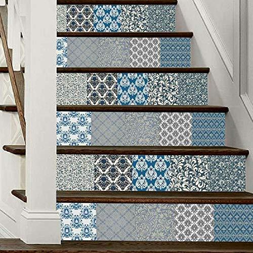 Leileixiao 6 pegatinas autoadhesivas para escaleras, de cerámica, geométricas y azulejo de cerámica, 6 unidades, color azul, tamaño: 18 x 100 cm x 6 unidades