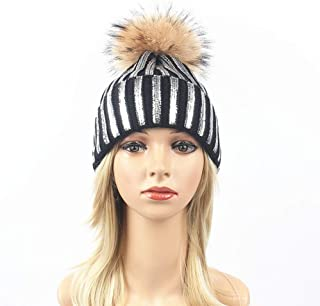 Hat Fashion Silver Striped Knit Beanie Hat Winter Pompom Thicken Hedging Cap Warm Ski Cotton Slouchy Female Fashion Accessories (Color : Black)