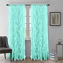 DiamondHome 2pc Cascade Shabby Chic Sheer Ruffled Curtain Panel (Sea Blue, 84