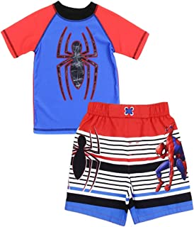 Spiderman Marvel Little Boys' Toddler Rash Guard and Swim Trunks Set