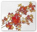 KKs-Shop Tapis de Souris Nature, Branches d'arbre Automne Tons ombrés fanés Saison Automne Feuilles de botanique Imprimer