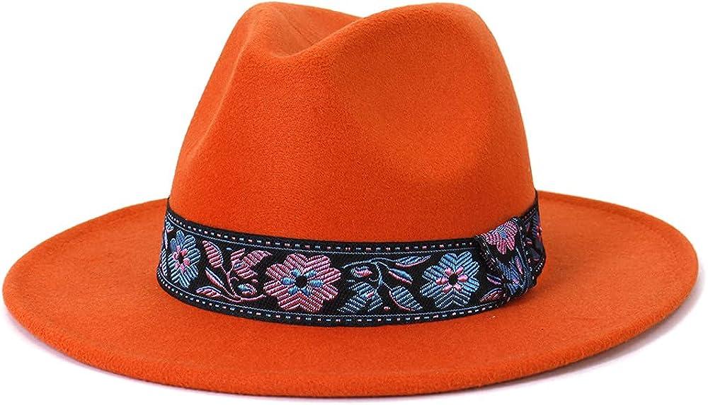 Women Vintage Wide Brim Fedora Hat with Ethnic Flower Belt Felt Panama Hat