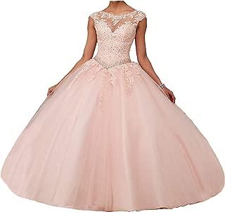 Áo quần dành cho bé gái – New Women's Girl's Boat Neck Floor Length Ball Gowns Quinceanera Dress