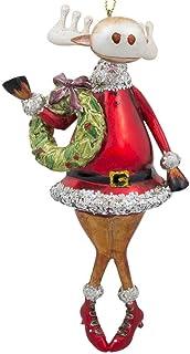 BestPysanky Chubby Reindeer Holding Wreath Glass Christmas Ornament