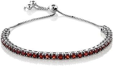 Gem Stone King 925 Sterling Silver Red Garnet Gemstone Birthstone Women's Adjustable Tennis Bracelet (4.50 Cttw, 3MM Round Garnet)