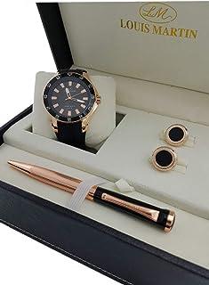 طقم ساعة رجالية مع كبك وقلم من لويس مارتن