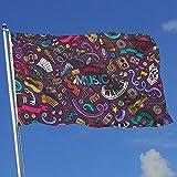 wallxxj Blumen Flagge Musikinstrumente Dunkler Druck Garten Fahnen Standard Yard Flagge Lebendige Bunte Yard Banner Im Freien 150X90 cm Willkommen Urlaub