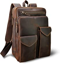 Men's Vintage Leather Casual Multi-Pockets Purpose School Travel Weekender Case Outdoor Sport Handmade 14 Inch Laptop Luggage Suitcase Daypack Overnight Backpack Brown